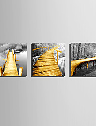E-HOME® Stretched Canvas Art The Wooden Bridge Decorative Painting Set of 3