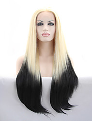 cheap -Sylvia Synthetic Lace front Wig Blonde To Black Hair Ombre Hair Heat Resistant Long Straight Synthetic Wigs