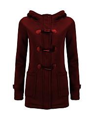 Langærmet Normal Vatteret Damer Frakke,Simpel Plusstørrelser Ensfarvet-Bomuld Polyester Hætte