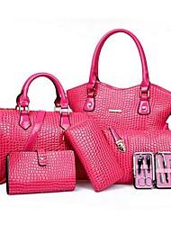 cheap -Women Bags PU Bag Set 5 Pieces Purse Set for Casual Black Yellow Fuchsia Red Blue