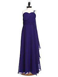 A-Line One Shoulder Floor Length Chiffon Junior Bridesmaid Dress with Beading Sash / Ribbon Side Draping Ruching by LAN TING BRIDE®