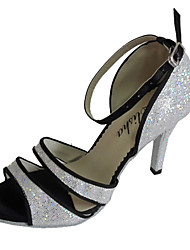 cheap -Women's Latin Salsa Sparkling Glitter Sandal Indoor Performance Professional Beginner Practice Customized Heel Silver Customizable