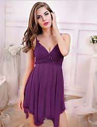 Nuisette & Culottes Vêtement de nuit Femme,Sexy Couleur Pleine-Mince Dentelle Spandex Rouge Noir Rose Violet