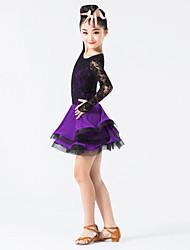 Latin Dance Dresses Children's Performance Nylon / Spandex / Lace Lace / Ruffles 1 Piece Peach / Light Yellow