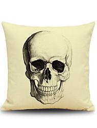 Halloween Skull Head Sketch Linen Decorative Throw Pillow Case Cushion Cover