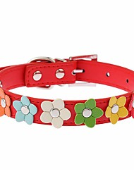 cheap -Cat Dog Collar Adjustable / Retractable Running Hands free Casual Cosplay Flower PU Leather Black Rose Red Blue Pink