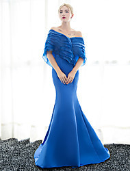 Mermaid / Trumpet Off-the-shoulder Sweep / Brush Train Satin Formal Evening Dress with Ruffles by Embroidered bridal