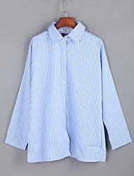 cheap -Women's  Fall BlouseSolid / Striped Shirt Collar Long Sleeve Blue / Red Polyester Medium