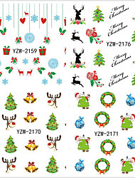 4PCS Father Christmas Snowflake Christmas Water Transfer Printing Nail Stickers