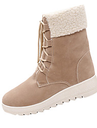 Women's Boots Winter Comfort PU Dress / Casual Flat Heel Lace-up Black / Khaki Walking
