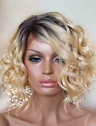 Elegant Medium Wavy Capless Wigs High Quality Human Hair Mixed Color