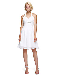 cheap -A-Line Fit & Flare Halter Knee Length Chiffon Cocktail Party Dress with Crystal Detailing Draping by TS Couture®