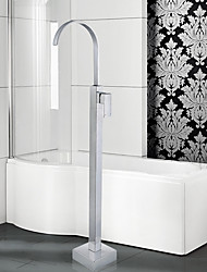 cheap -Contemporary Art Deco/Retro Modern Tub And Shower Waterfall Widespread Floor Standing Ceramic Valve One Hole Single Handle One Hole Chrome