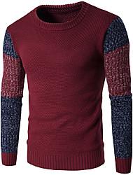 cheap -Men's Daily Casual Regular Pullover,Color Block Round Neck Long Sleeves Wool Winter Fall Medium Micro-elastic