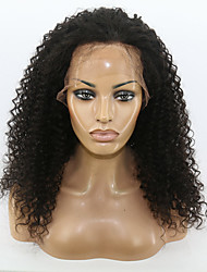 cheap -Human Hair Lace Front Wig Wig Kinky Curly 130% Density Natural Hairline / African American Wig / 100% Hand Tied Women's Medium Length / Long Human Hair Lace Wig