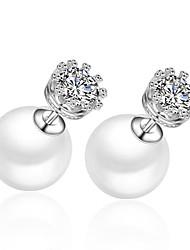 abordables -Pendientes de perlas de titanio chapadas en oro de 18 k Estilo femenino clásico de 8 mm
