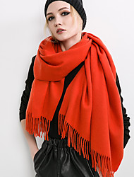 cheap -Women Vintage Casual Classic wool Cashmere pure color autumn and winter long tassel scarf