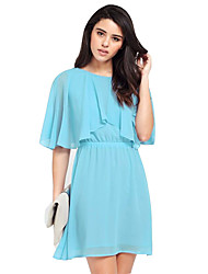 cheap -Women's Plus Size Street chic Chiffon Dress - Solid Colored Layered