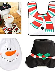 cheap -1 Sets Christmas Decorations Xmas Toilet Seat Cover And Rug Washroom Set Snowman Decorative Lids Promotions