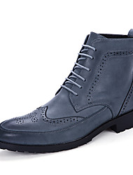 cheap -Men's Shoes Leather Winter Fall Comfort Fashion Boots Bootie Boots Lace-up for Casual Black Brown Blue