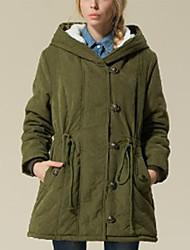 cheap -Women's Long Padded Coat,Casual Daily Solid-Polyester Polyester Long Sleeves Hooded