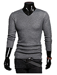 cheap -Men's Long Sleeves Pullover - Solid Colored Stand