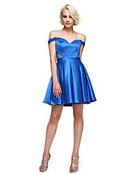 billige -A-line off-the-shoulder short / mini stretch satin cocktail party homecoming prom kjole med beading af ts couture®