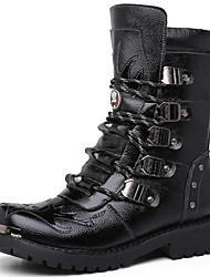 cheap -Men's Boots Fashion Boots Combat Boots Fall Winter Nappa Leather Casual Party & Evening Black 1in-1 3/4in
