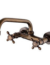 Contemporary / Antique / Modern Centerset Widespread with  Ceramic Valve Two Handles Two Holes for  Antique Copper , Bathroom Sink Faucet