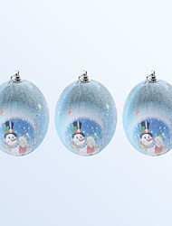 cheap -3 Pcs Christmas Decoration Cute Snowman Pattern Blue Colour Ball