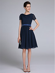 cheap -Sheath / Column Cowl Neck Knee Length Chiffon Mother of the Bride Dress with Sash / Ribbon by LAN TING BRIDE®