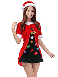 Ladies  Cute Bow Christmas  Top Dress With Bell Red Xmas Costume