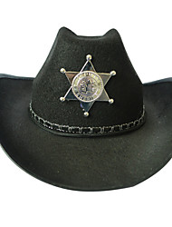 Sheriff Hat Police Halloween Props Cosplay Festival Western Howboy Black Hat Beach Tourism Men And Women Five - pointed Star Printing Sheriff Hat