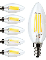 economico -6pcs 380lm E12 Lampadine LED a incandescenza C35 4 Perline LED COB Oscurabile Bianco caldo 110-130V
