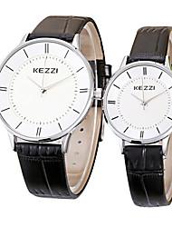 cheap -KEZZI Couple's Wrist watch Casual Watch Quartz / Hot Sale Leather Band Casual Minimalist Cool Black White Brown