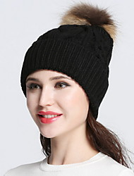 cheap -Women Vintage Casual Solid color Curling Edge protection ear knitting wool cap