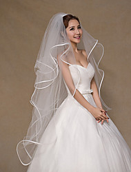 Wedding Veil Four-tier Fingertip Veils Ribbon Edge Tulle