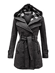 cheap -Women's Daily Vintage Winter Coat Hooded Long Sleeve Long
