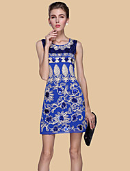 Women's Embroidery Formal / Work / Party Sexy / Street chic Sheath Dress,Embroidered Round Neck Above Knee Sleeveless Blue / Red / Beige