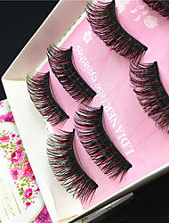 cheap -5 pair Eyelashes lash Others Eyes Colorful Volumized Handmade Fiber Black Band 0.10mm 15mm