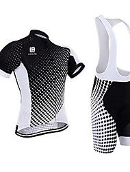 cheap -Men's Short Sleeve Cycling Jersey with Bib Shorts - Black / White Bike Clothing Suit, 3D Pad, Quick Dry, Anatomic Design Coolmax®, Silicon, Lycra / Breathable / Stretchy / Ultraviolet Resistant