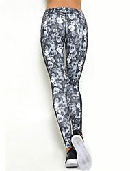 baratos -Mulheres Calças de Yoga Esportes Sexy, Moderno, Floral / Botânico Elastano Meia-calça / Calças Pilates, Exercício e Atividade Física,