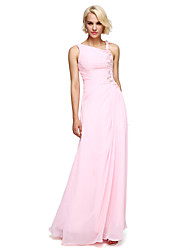 cheap -Ball Gown Notched Floor Length Chiffon Bridesmaid Dress with Beading Flower(s) by LAN TING BRIDE®
