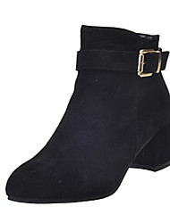 baratos -Feminino Sapatos Couro Ecológico Outono Inverno Botas da Moda Conforto Botas Caminhada Salto Grosso Dedo Apontado Ziper Para Casual Social