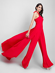 cheap -Sheath / Column Jumpsuit Halter Court Train Chiffon Formal Evening Dress with Pleats by TS Couture®