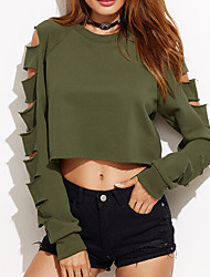 cheap -Women's Cut Out Daily Sexy Regular HoodiesSolid Green Round Neck Long Sleeve Cotton Fall / Winter Medium Micro-elastic