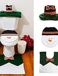 1 Sets Happy Snowman Christmas Bathroom Set Toilet Seat Cover Rug Xmas Decoration Year Adornos De Navidad Promotions