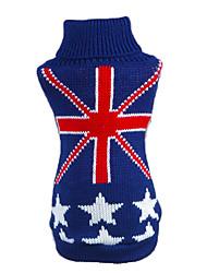 preiswerte -Katze Hund Pullover Hundekleidung Lässig/Alltäglich Nationalflagge Dunkelblau Kostüm Für Haustiere