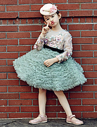 Ball Gown Knee Length Flower Girl Dress - Tulle Stretch Satin Long Sleeves Jewel Neck with Embroidery Ruffles Sequins by Huaxirenjiao