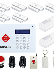 H35 RFID GSM Alarm Security System Wireless Voice LCD for Home Safety with Mini Door Chime Contact Motion Sensor Android
